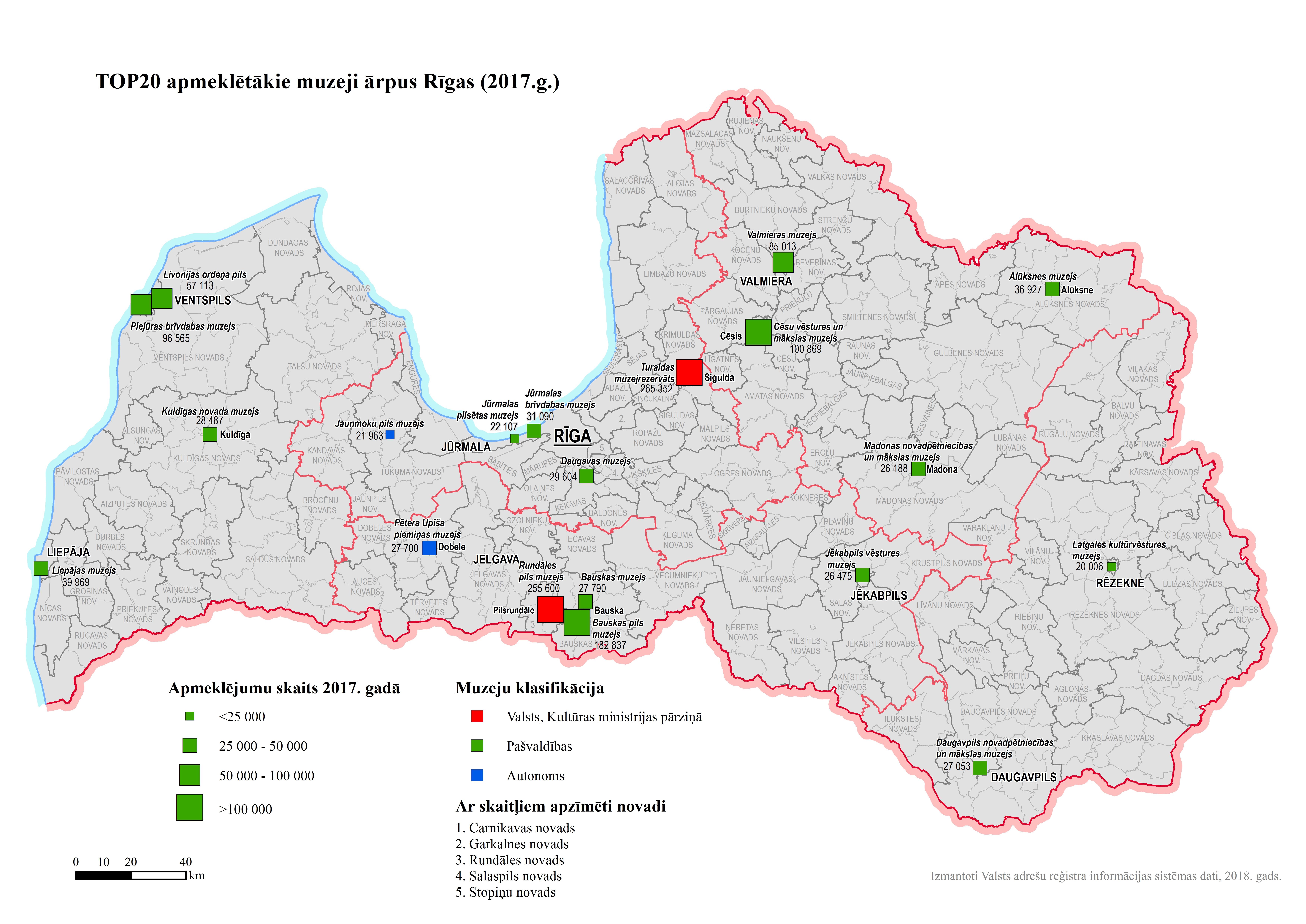 Karte_Top20 apmeklētākie muzeji ārpus Rīgas